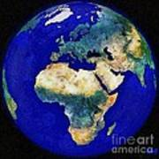 Earth From Space Europe And Africa Art Print