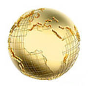 Earth In Gold Metal Isolated - Africa Art Print