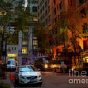 East 44th Street - Rhapsody In Blue And Orange - Close View Art Print