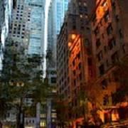 East 44th Street - Rhapsody In Blue And Orange Art Print