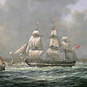 East Indiaman Hcs Thomas Coutts Off The Needles     Isle Of Wight Art Print by Richard Willis