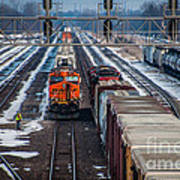Eastbound And Westbound Trains Art Print