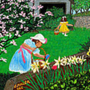 Easter At Grandma's Art Print by Edward Fuller