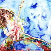 Eddie Van Halen Playing The Guitar.1 Watercolor Portrait Art Print