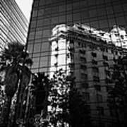edificio ariztia building reflected in modern bank buildings in the financial district of Santiago Chile Art Print