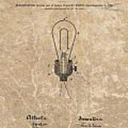 Edison Electric Lamp Patent Marble Art Print