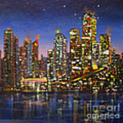 Edmonton Night Lights Art Print