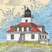 Egg Rock Lighthouse Me Nautical Chart Map Art Art Print