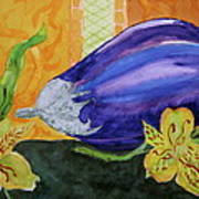 Eggplant And Alstroemeria Art Print