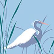 abstract Egret graphic pop art nouveau 1980s stylized retro tropical florida bird print blue gray  Art Print
