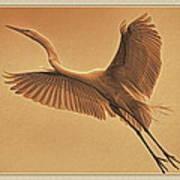 Egret Sepia Art Print
