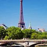 Eiffel Tower And Bridge On Seine River In Paris Art Print
