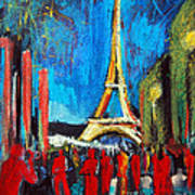 Eiffel Tower And The Red Visitors Art Print