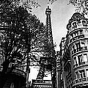 Eiffel Tower Black And White Art Print
