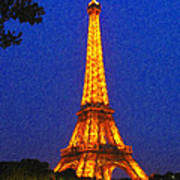 Eiffel Tower Illuminated Art Print