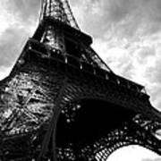 Eiffel Tower In Black And White. Ominous Sky Overhead Art Print