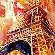 Eiffel Tower In Red Art Print