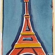 Eiffel Tower Orange Blue Art Print