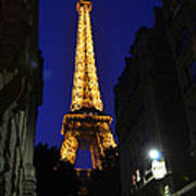 Eiffel Tower Paris France At Night Art Print
