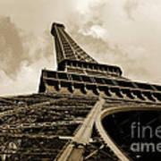 Eiffel Tower Paris France Black And White Art Print