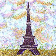 Eiffel Tower Pointillism Art Print