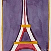 Eiffel Tower Purple Red Art Print