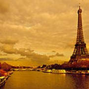 Eiffel Tower Rising Over The Seine Art Print by Mark E Tisdale
