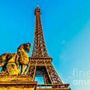 Eiffel Tower With Horse Art Print
