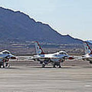 Eight F-16 Thunderbird Falcon's On Static Display Nellis Art Print