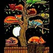 Eight Tree Cats Art Print