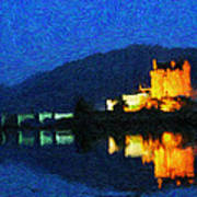 Eilean Donan At Night Art Print