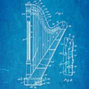 Ekman Harp Patent Art 1905 Blueprint Art Print