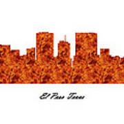 El Paso Texas Raging Fire Skyline Art Print