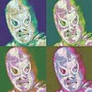 El Santo The Masked Wrestler Four 20130218 Print by Wingsdomain Art and Photography