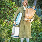 Elderly Shopper Statue Key West - Hdr Style Art Print