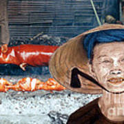 Elderly Vietnamese Woman Wearing A Conical Hat Altered Version Art Print
