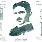 Electric Arc Lamp Patent Art Nikola Tesla Art Print