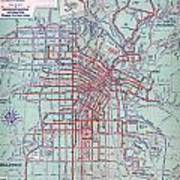 Electric Car And Bus Routes In La  Art Print