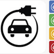 Electric Car Icon Flat Graphic Design Metal Print By Bubaone