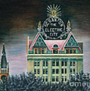 Electric City At Night Art Print