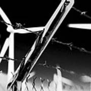 Electric Fence Black And White Art Print