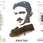 electric generator patent art Nikola Tesla Art Print