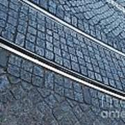 Electric Rail On Portuguese Traditional Pavement Art Print