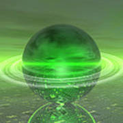 Electronic Green Saturn Art Print