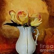 Elegant Triple Roses Art Print by Marsha Heiken