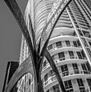 Element Of Duenos Do Los Estrellas Statue With Miami Downtown In Background - Black And White Art Print by Ian Monk