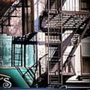 Elemental City - Fire Escape Graffiti Brownstone Art Print