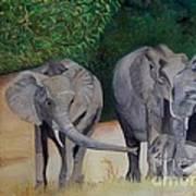 Elephant Family Gathering Art Print