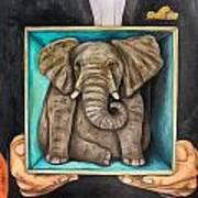 Elephant In A Box Edit 2 Art Print