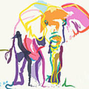 Elephant In Color Ecru Art Print